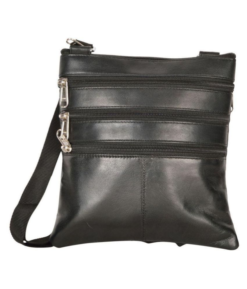Aspen Leather Black Pure Leather Sling Bag