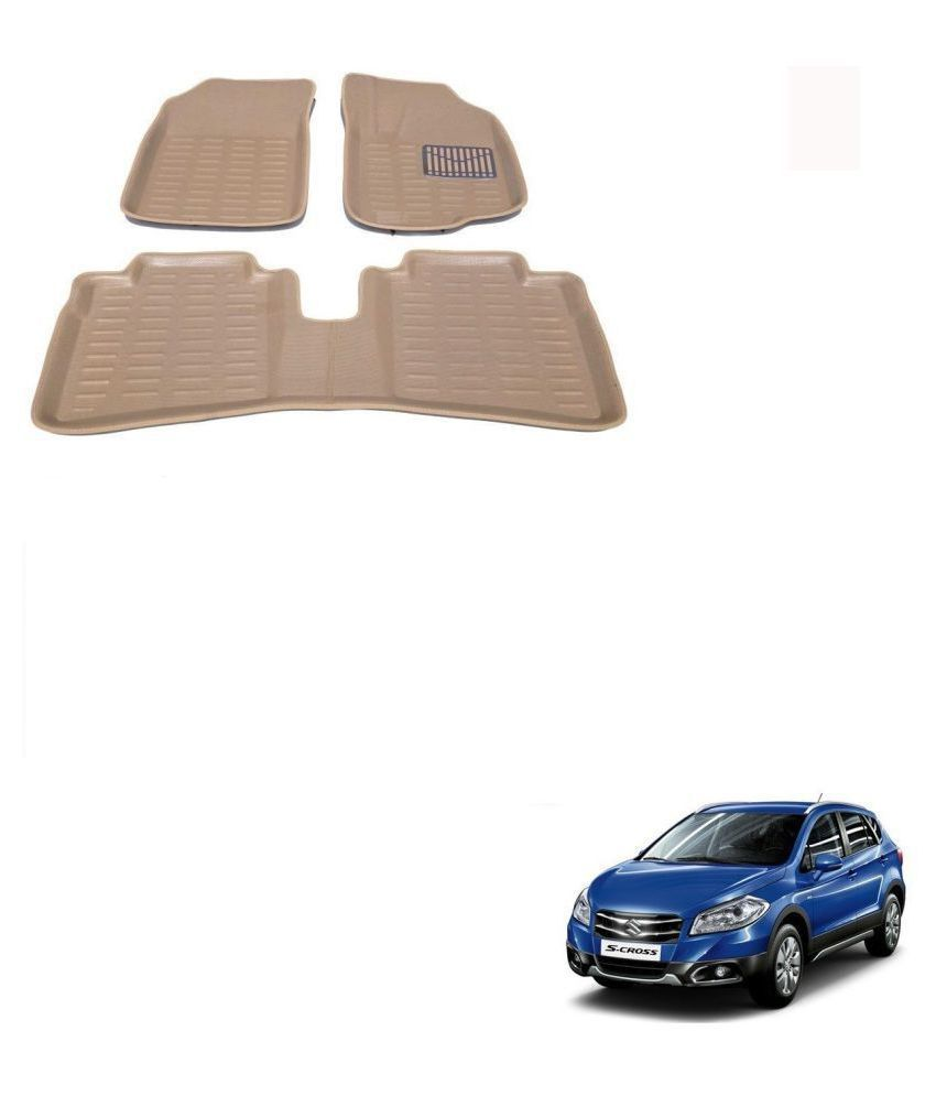 Auto Addict Car 3D Mats Foot mat Beige Color for Maruti Suzuki S Cross