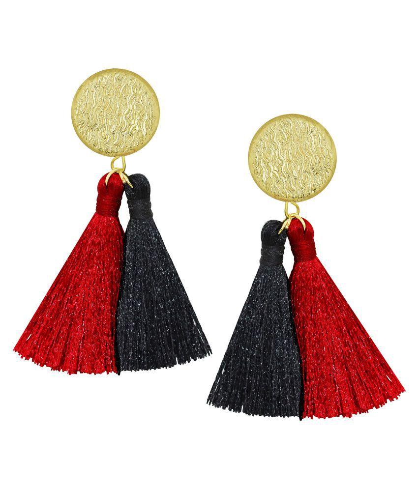 Spargz Black & Red Thread Gold Plated Tassel Earring For Women