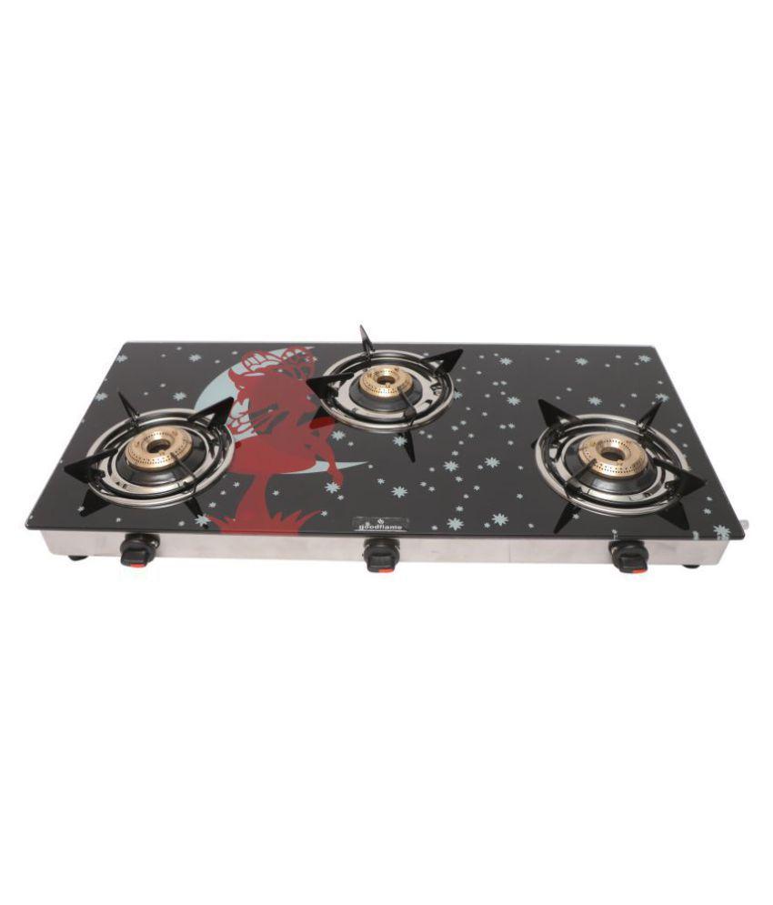 goodflame 3 burner ss slim designer gas stove with Cast Iron Burners