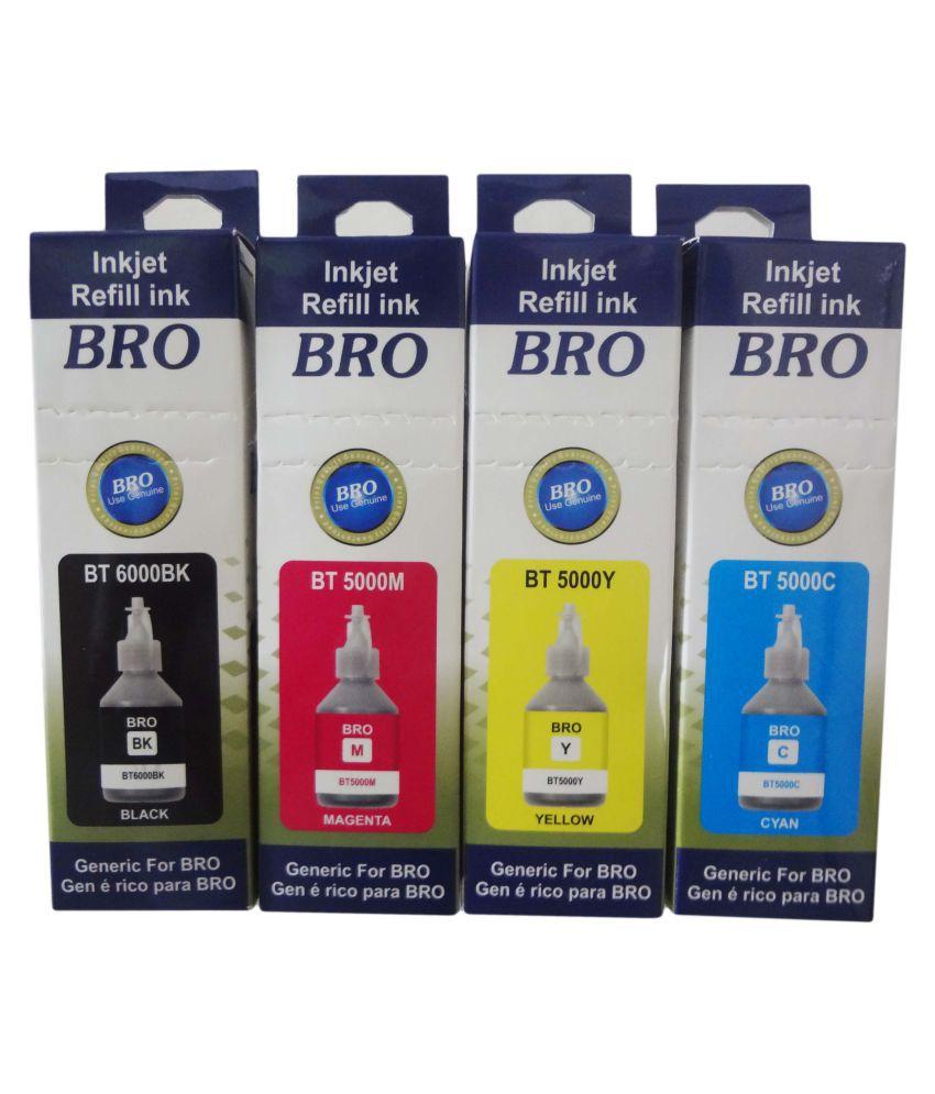 RPS BT6000K  amp; BT5000C Multicolor Pack of 4 Ink bottle for Brother BT5000  amp; BT6000BK use printer DCP T300, DCP T500, DCP T700W, MFC T800W