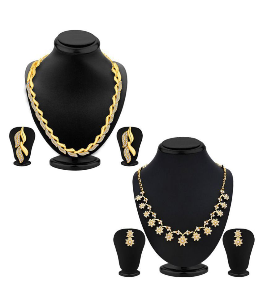bba0a28802892 Sukkhi Alloy Golden Choker Traditional 18kt Gold Plated Necklace set Combo