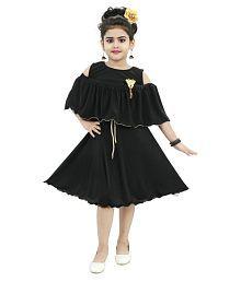 Chandrika girls midi knee Length black sleeveless frill party dress