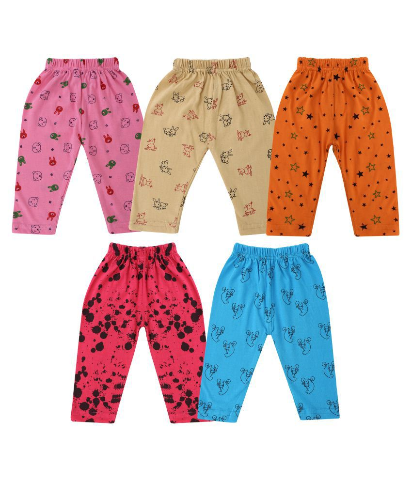 DIAZ® Unisex 100% Soft Cotton in attractive Colour Baby pajama, baby Pajami, Baby Leggings, baby track pants , baby sleepwear (Set of 5) between 0 to 24 Months ( for infant boys and girls )