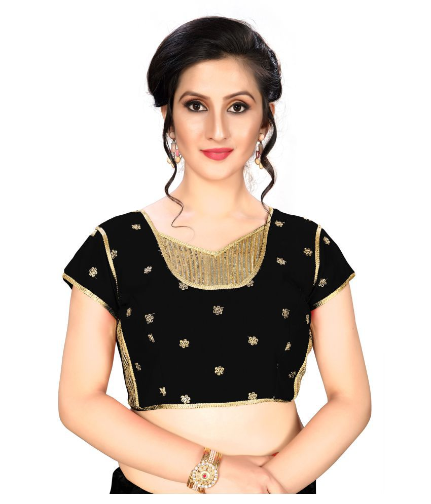Fab Dadu Black Silk Readymade with Pad Blouse