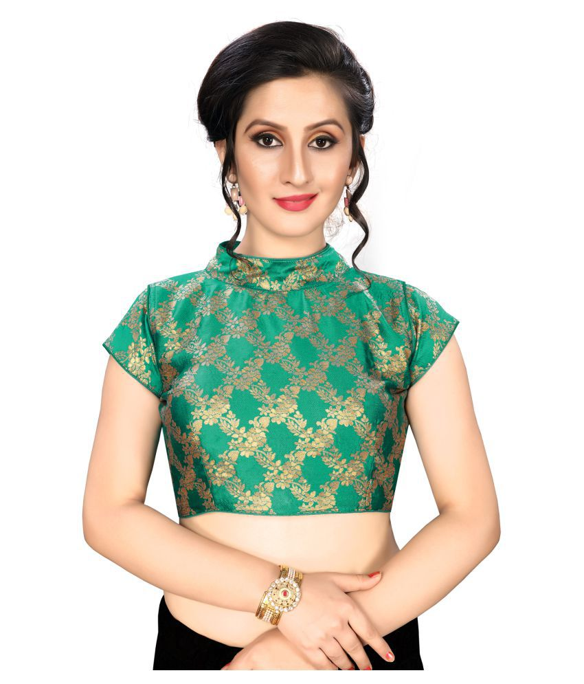 Fab Dadu Green Jacquard Readymade with Pad Blouse