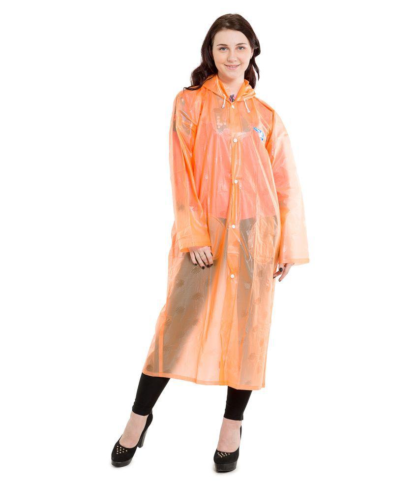 Burdy Polyester Long Raincoat - Orange