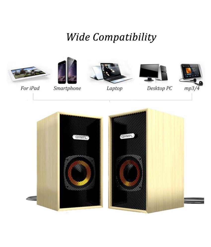 Quantum Wave-LP02 2.0 Wooden Multimedia Speakers - Black For Laptop, Computers, Mobiles & TV/AV