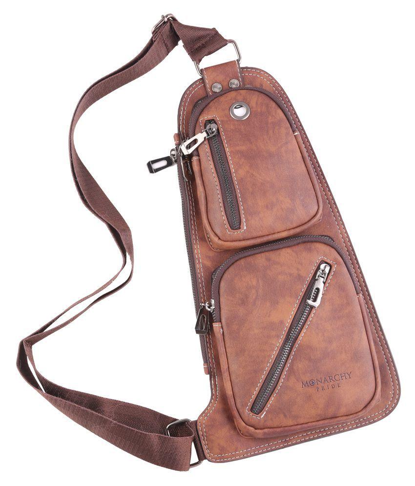 monarchy pride crossbody bag Brown Leather Casual Messenger Bag