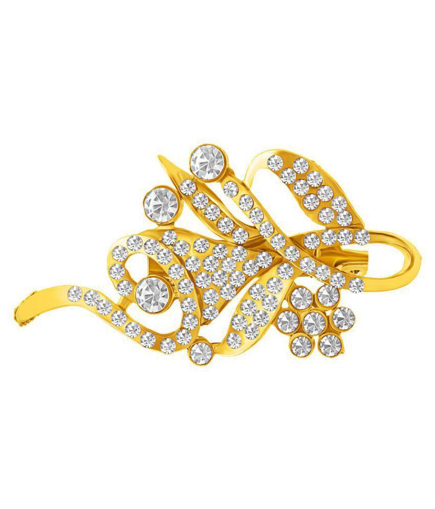 MFJ Fashion Jewellery Gold Plated AD Beautyfull Brooch For Women