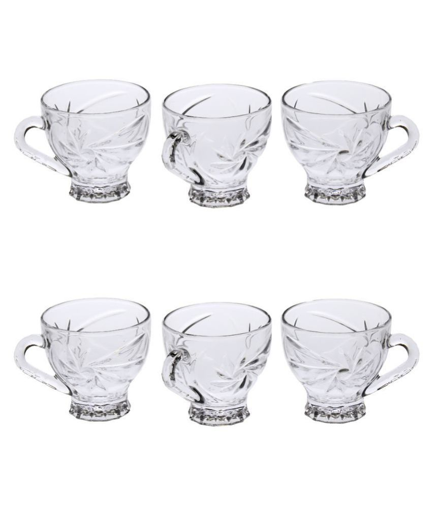 AFAST Glass AFAST  Glass Tea Cup Set Of 6  Clear & transparent,New Shape & design,Multi Uses Coffee Cup 6 Pcs 150 ml