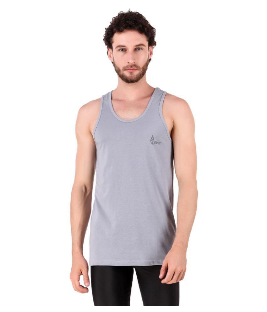 Evoy Polyester Grey Sleeveless Sports Gym Wear Vest for Men