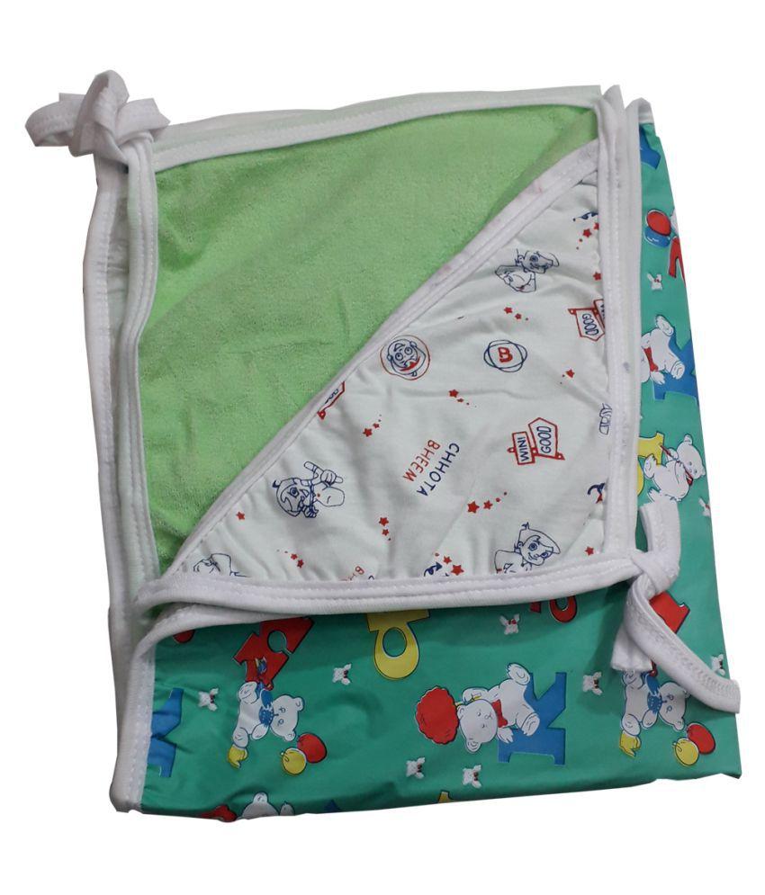 SAASHIKA Green Cotton Baby Wrap cum blanket ( 67 cm × 53 cm - 1 pcs)