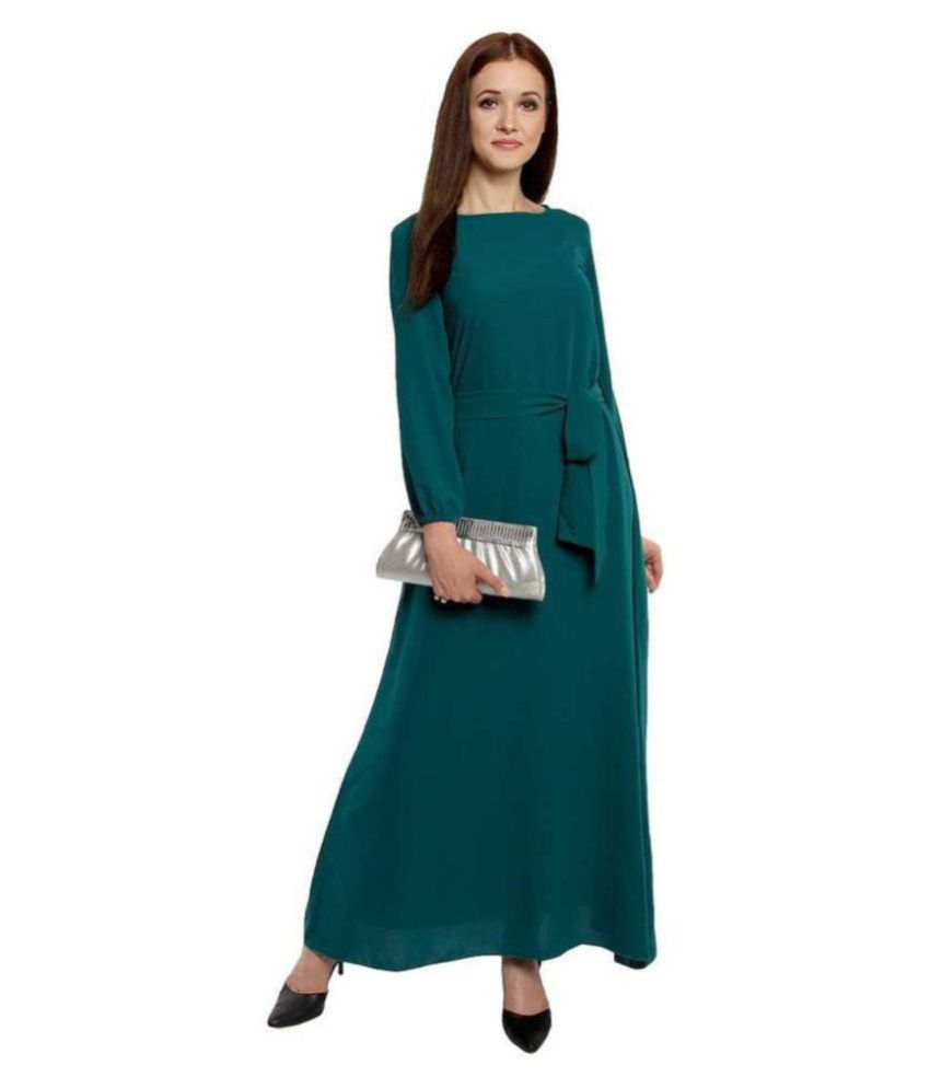 SHT Crepe Green Fit And Flare Dress