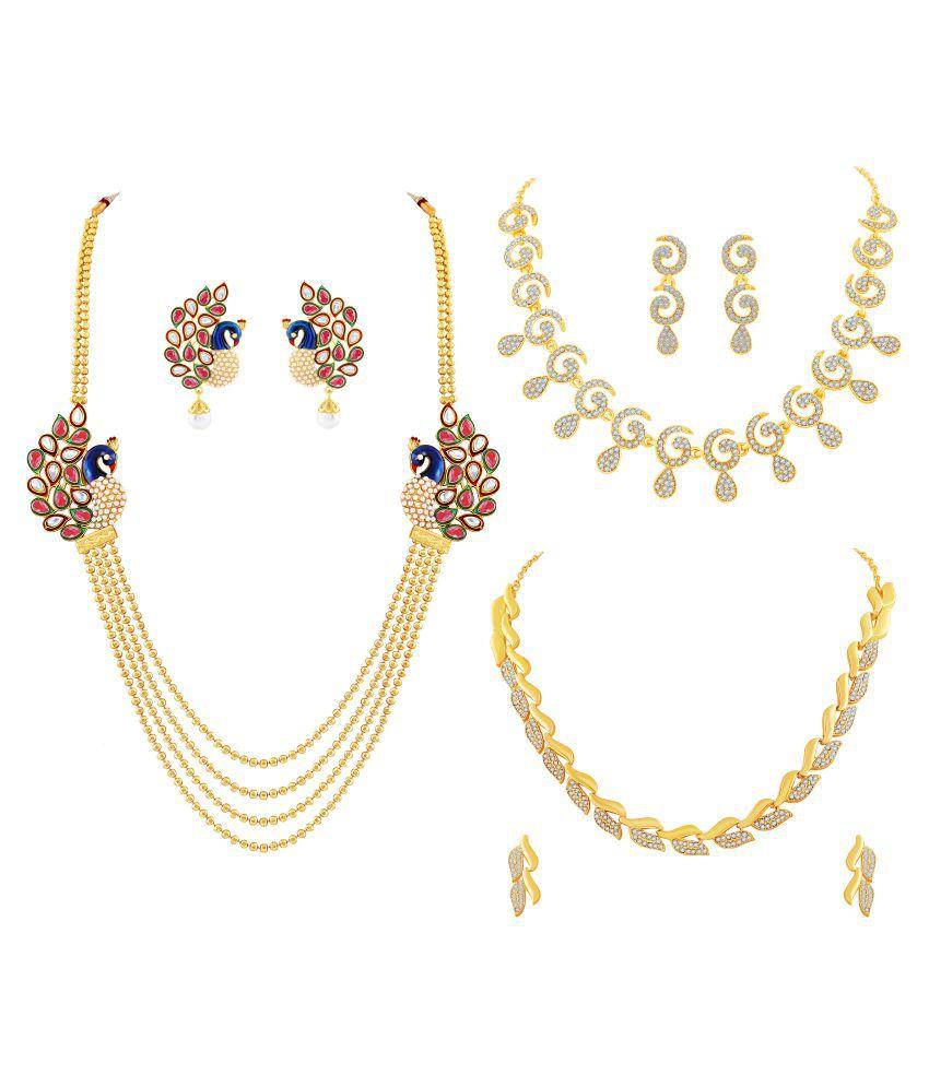 2892c969d M J Fashion Jewellery Brass Golden Long Haram Designer 22kt Gold Plated  Necklace set Combo - Buy M J Fashion Jewellery Brass Golden Long Haram  Designer 22kt ...