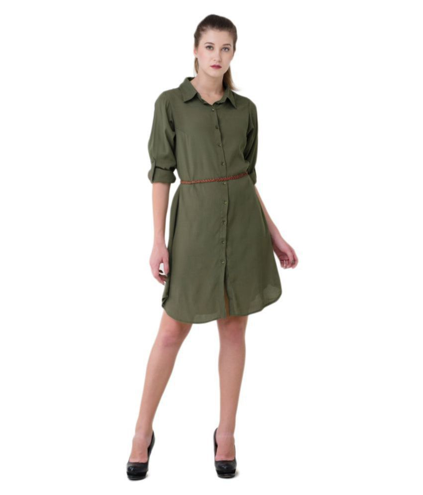V&M Polyester Green Shirt Dress