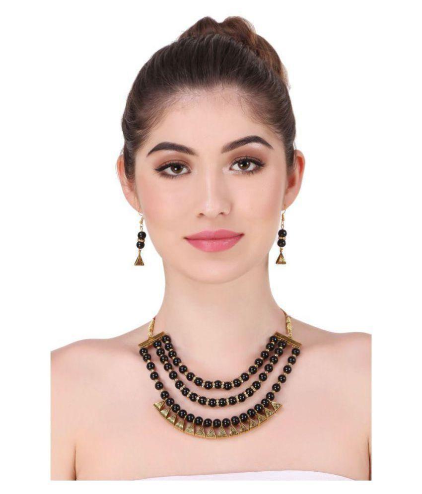 Bhagya Lakshmi Alloy Black Contemporary Contemporary/Fashion Antique Necklaces Set