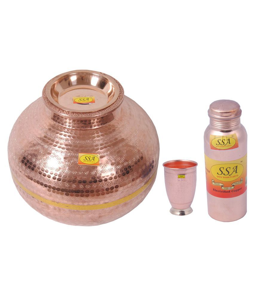 Shiv Shakti Arts Copper Matka 15Litre 3 Pcs Lemon set