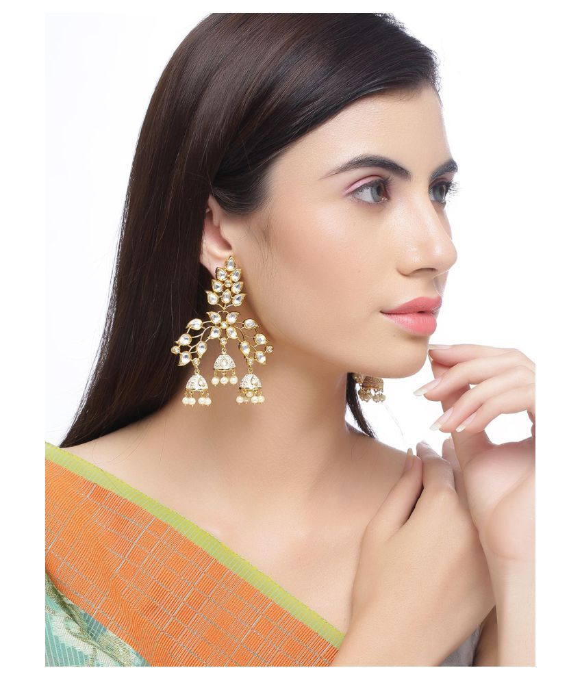 Tistabene Retails Traditional Enamelled Three Jhumki Polki Earring (ER-4813)