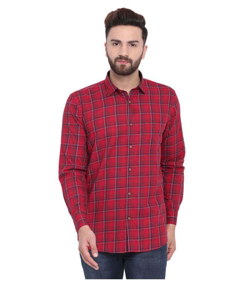 Richlook 100 Percent Cotton Red Checks Shirt