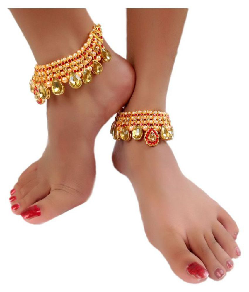 cafd96eed018ff ... Womensky Antique Traditional Kundan Pearls Stone Fancy Stylish Gold  Plated Payal/Anklet/Pajeb/ ...