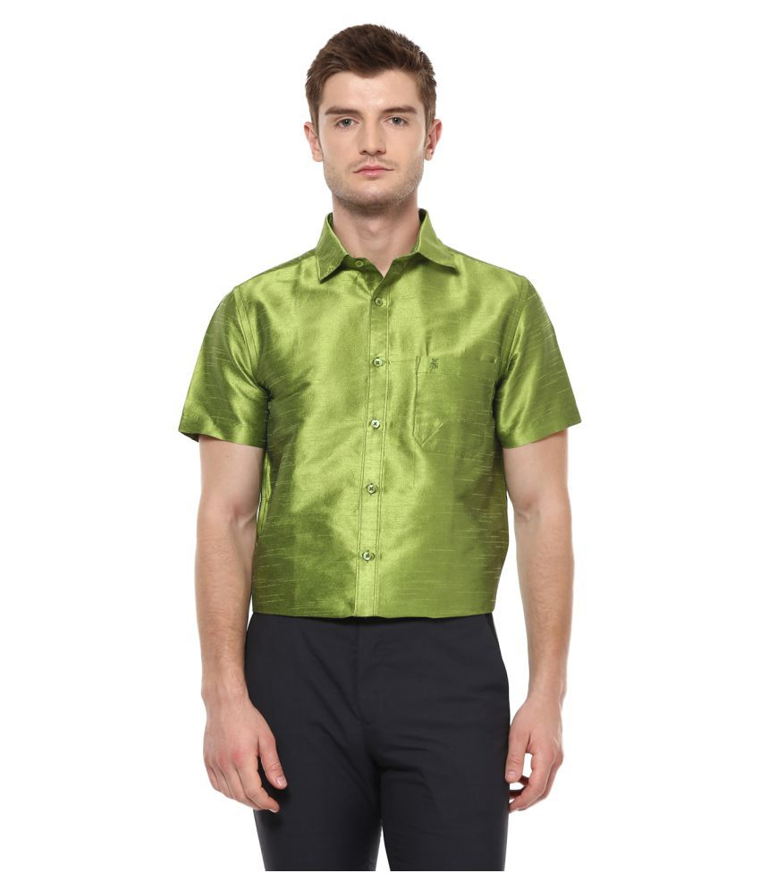 KHODAY WILLIAMS Polyester Green Solids Shirt