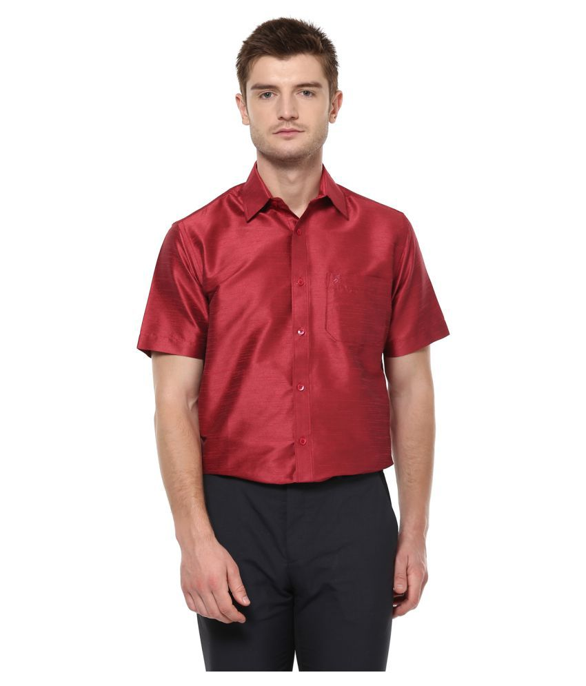 KHODAY WILLIAMS Polyester Red Solids Shirt