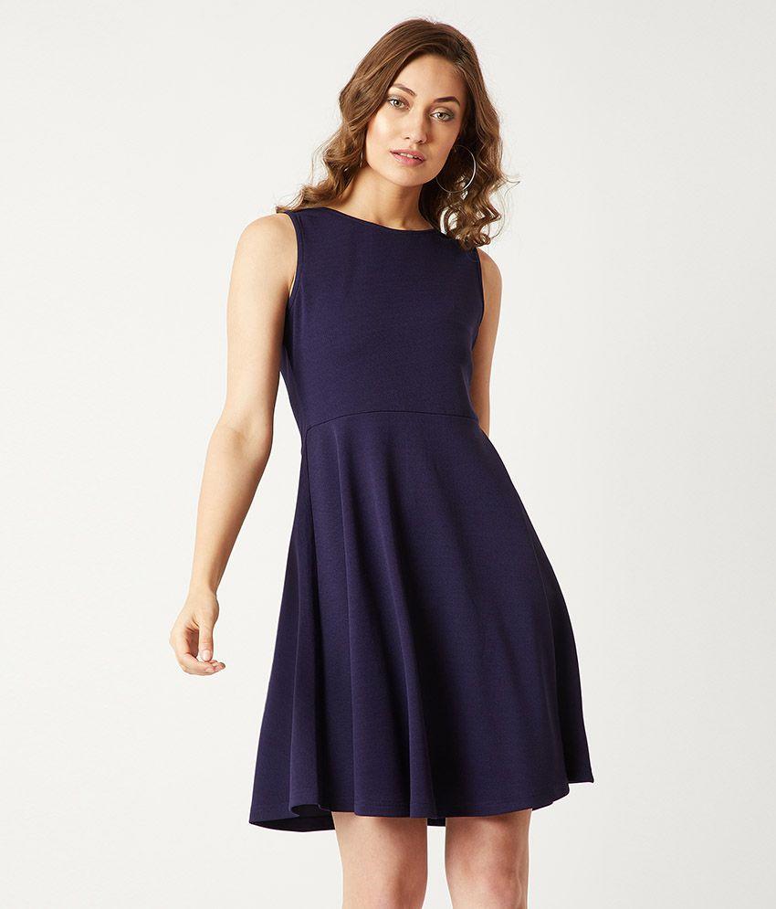 Miss Chase Polyester Navy Skater Dress
