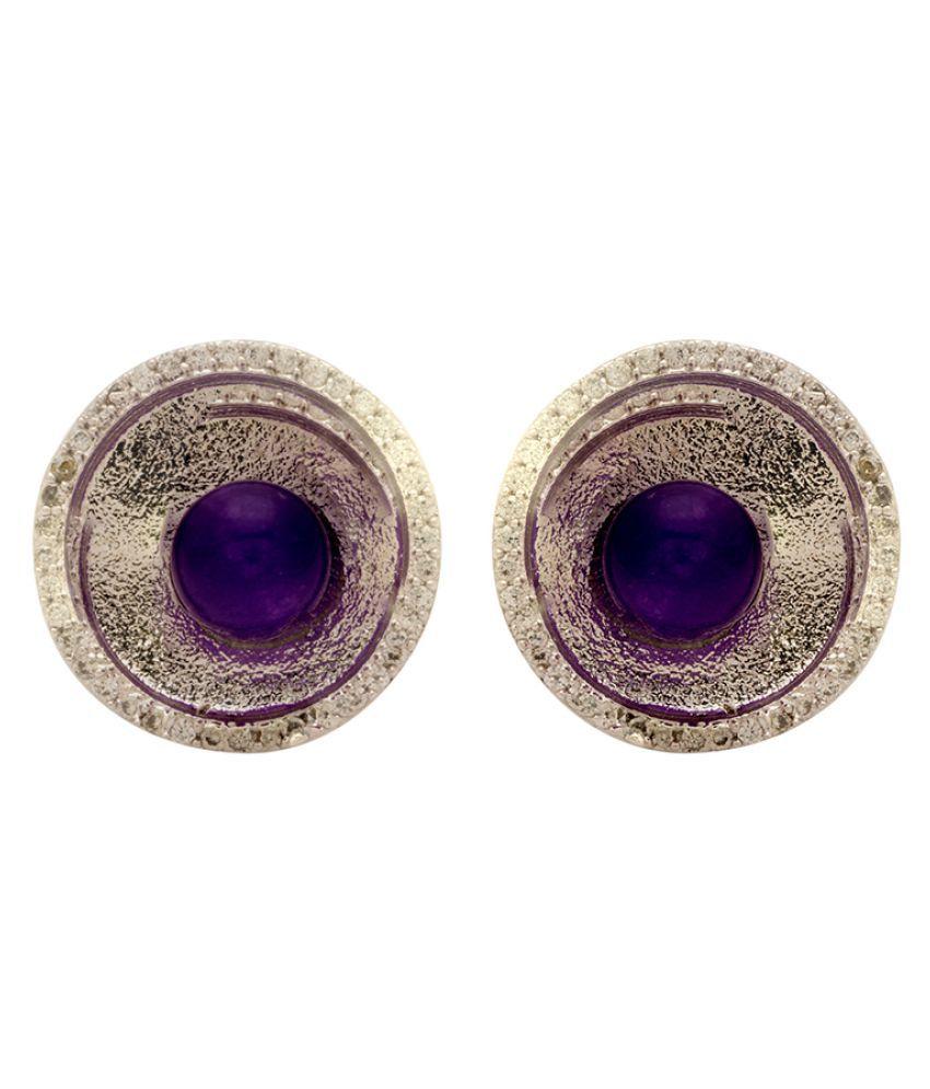 Voylla Purple Pearl Studded Stud Earrings For Women