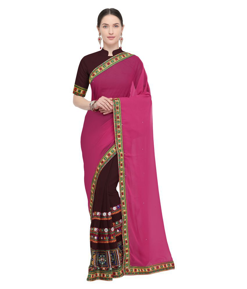 Pisara Brown,Pink Georgette Saree