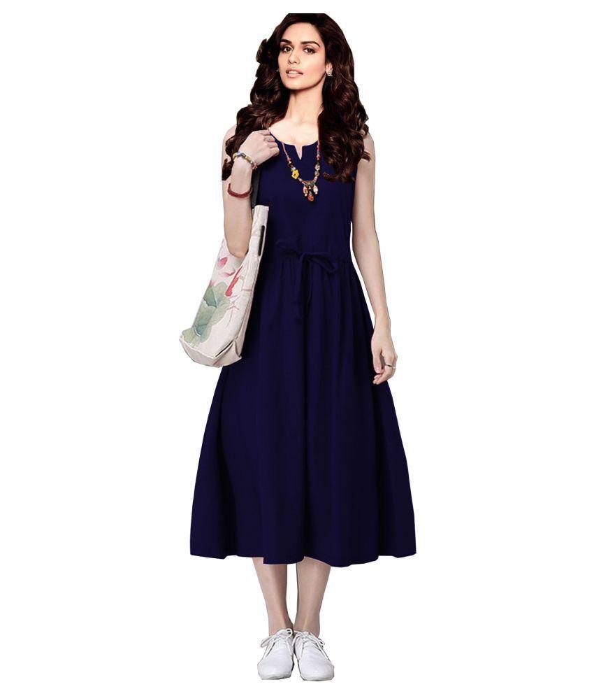 Ritsila Rayon Navy A- line Dress