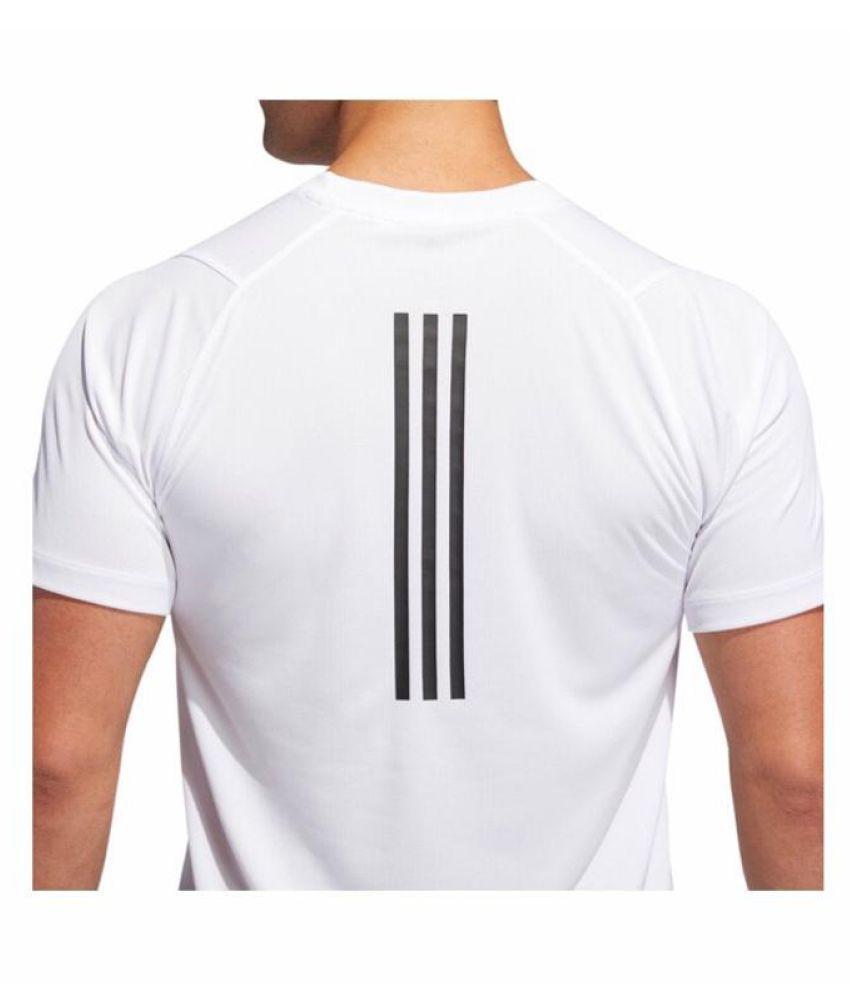 Adidas White Polyester Lycra T-Shirt