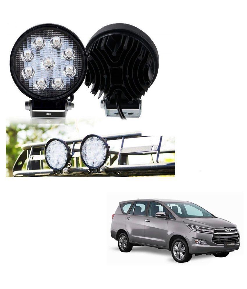 Auto Addict DEVICE 4 inch, 9 LED 27Watt Round Fog Light with Flood Beam Auxiliary Lamp Set Of 2 Pcs For Toyota Innova Crysta