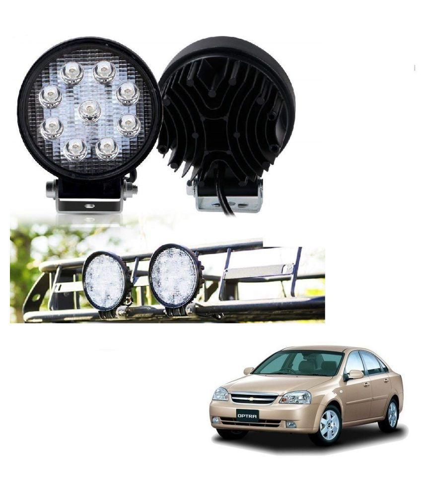 Auto Addict DEVICE 4 inch, 9 LED 27Watt Round Fog Light with Flood Beam Auxiliary Lamp Set Of 2 Pcs For Chevrolet Optra