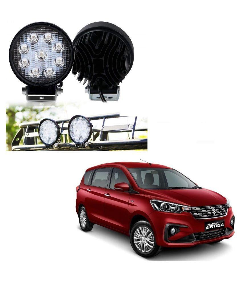 Auto Addict DEVICE 4 inch, 9 LED 27Watt Round Fog Light with Flood Beam Auxiliary Lamp Set Of 2 Pcs For Maruti Suzuki Ertiga New 2019