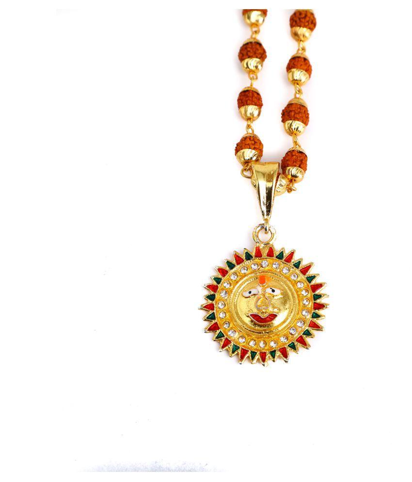 DIPALI Imitation Rudraksh Mala With Gold Plated NAG DEVTA Inspired Pendant Set For Men BoyS