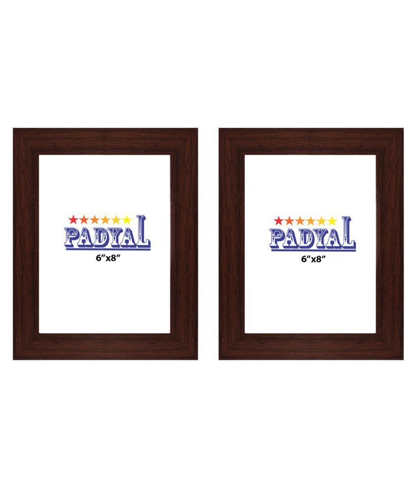 PADYAL Wood Table Top & Wall hanging Brown Photo Frame Sets - Pack of 2