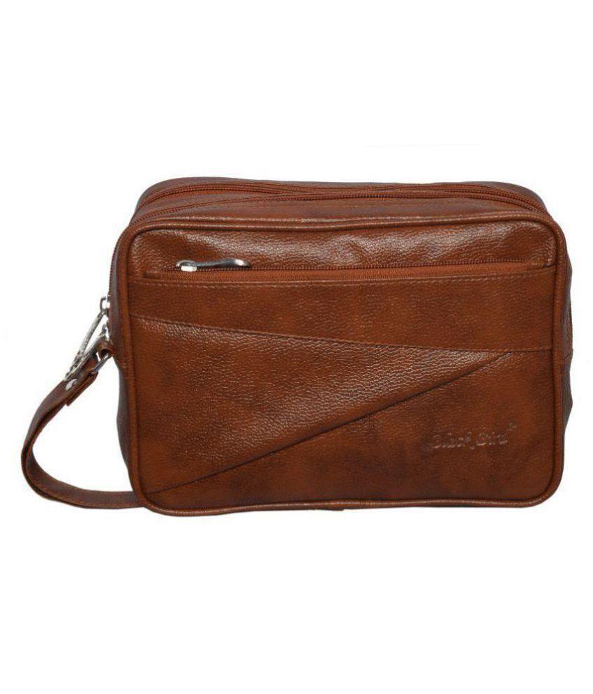 Black Bird Tan Synthetic Casual Messenger Bag