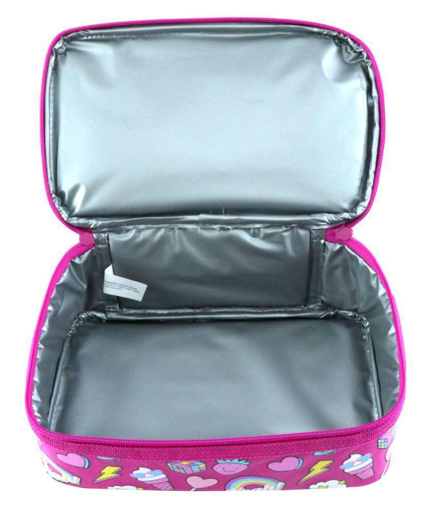 Smily Dual Slot Lunch Bag Fun Theme (Pink) | kids Lunch Bag | School Lunch  Bag | Boys & Girls Lunch Bag | lunch bag for school | Lunch Bag For Pink|