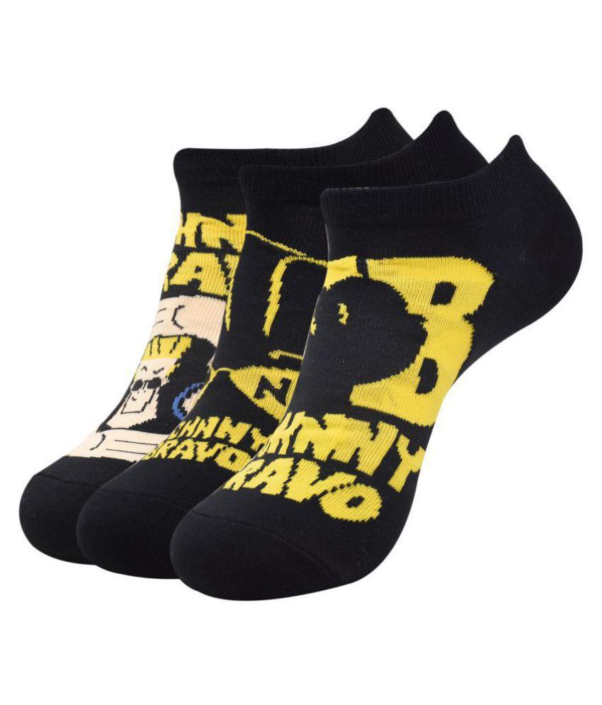 Johnny Bravo Black Casual Low Cut Socks Pack of 3
