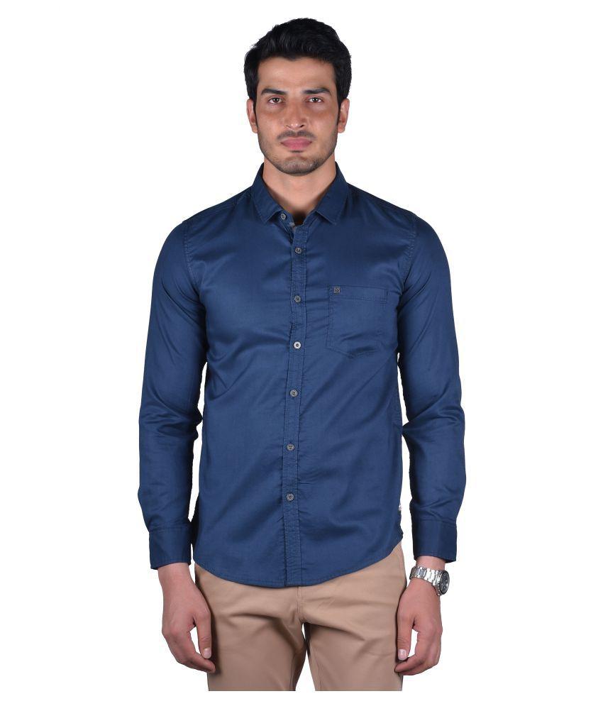 Urbantouch 100 Percent Cotton Blue Solids Shirt