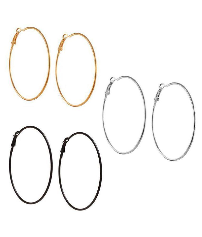 Fresh Vibes Triplet Combo of Silver Golden & Black Big Round Hoop Earrings for Women | Fancy & Stylish Party Wear Single Circle Metallic Earings for Girls