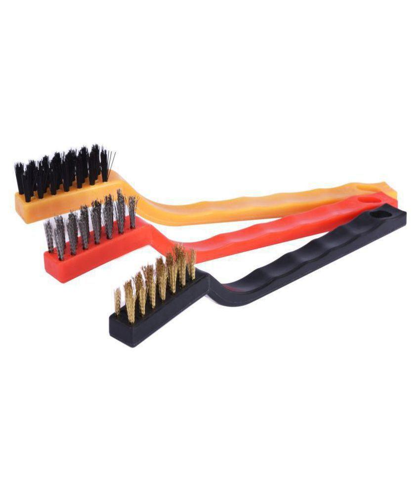 YUTIRITI 3 Pc Handy Copper Iron Nylon Wire Bristle Cleaning Brush For Kitchen & Bathroom