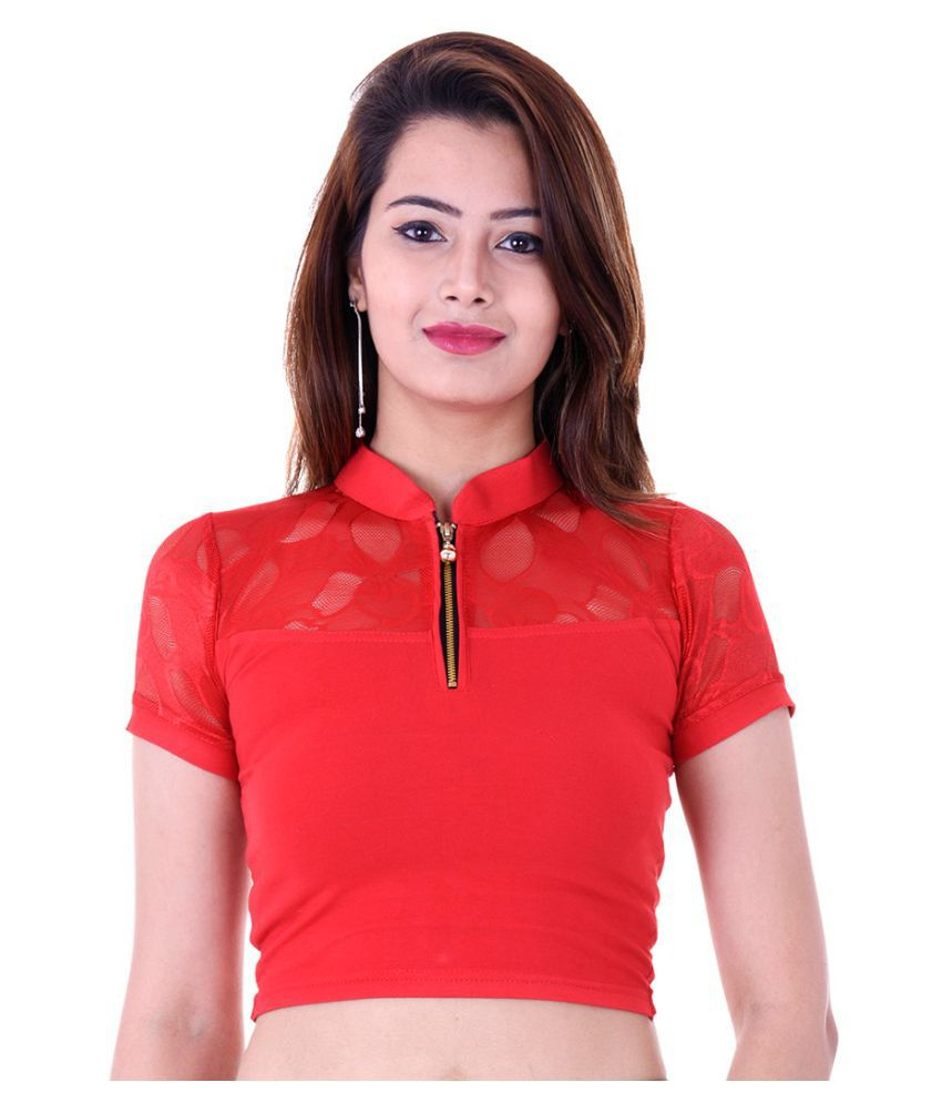ADABHUT Red Lycra Readymade without Pad Blouse