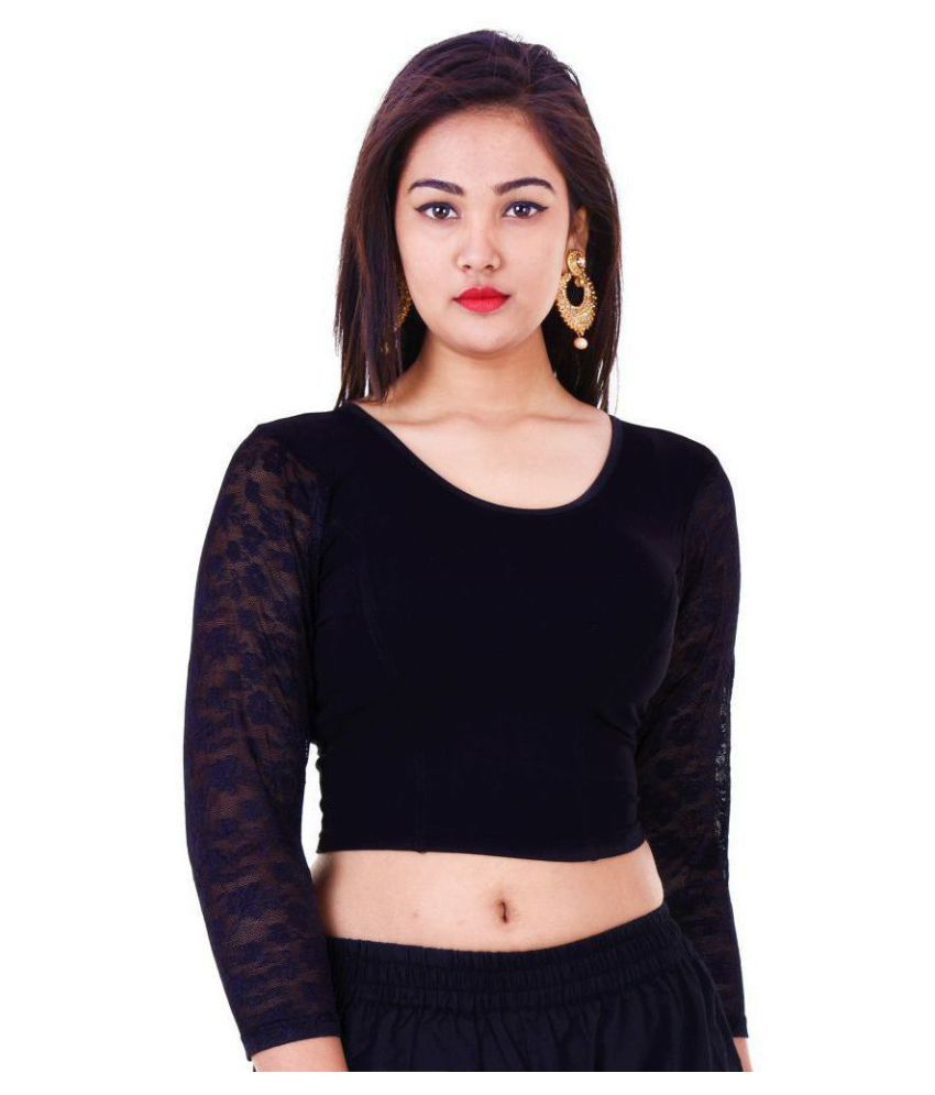 Bulbul Black Lycra Readymade without Pad Blouse