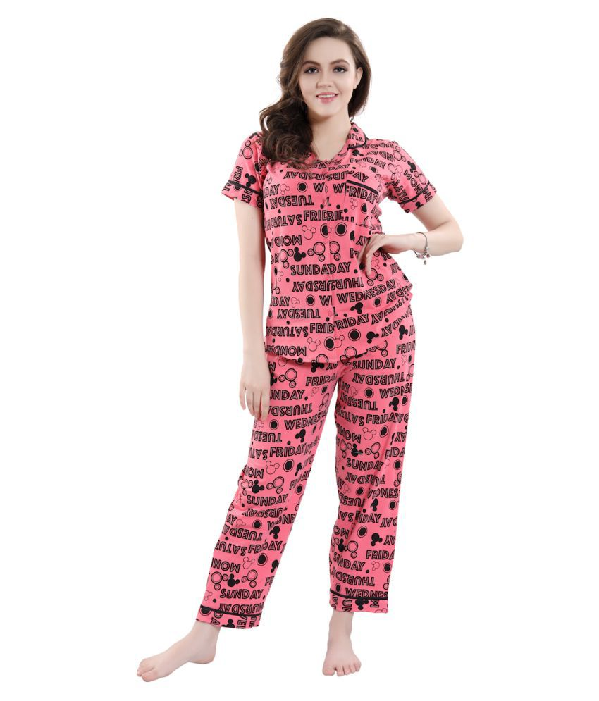 PIU Hosiery Nightsuit Sets - Red