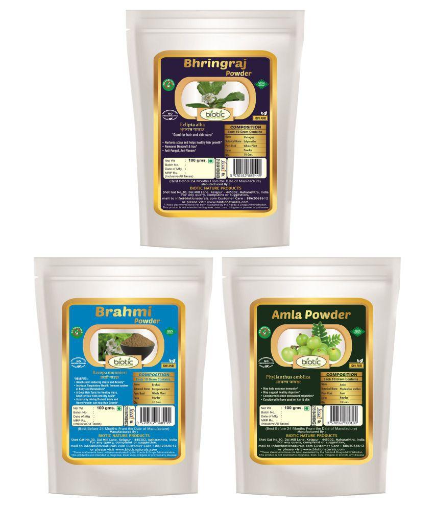 Biotic Natural Bringraj, Brahmi and Amla Powder - 300 gms (100 gms Each)