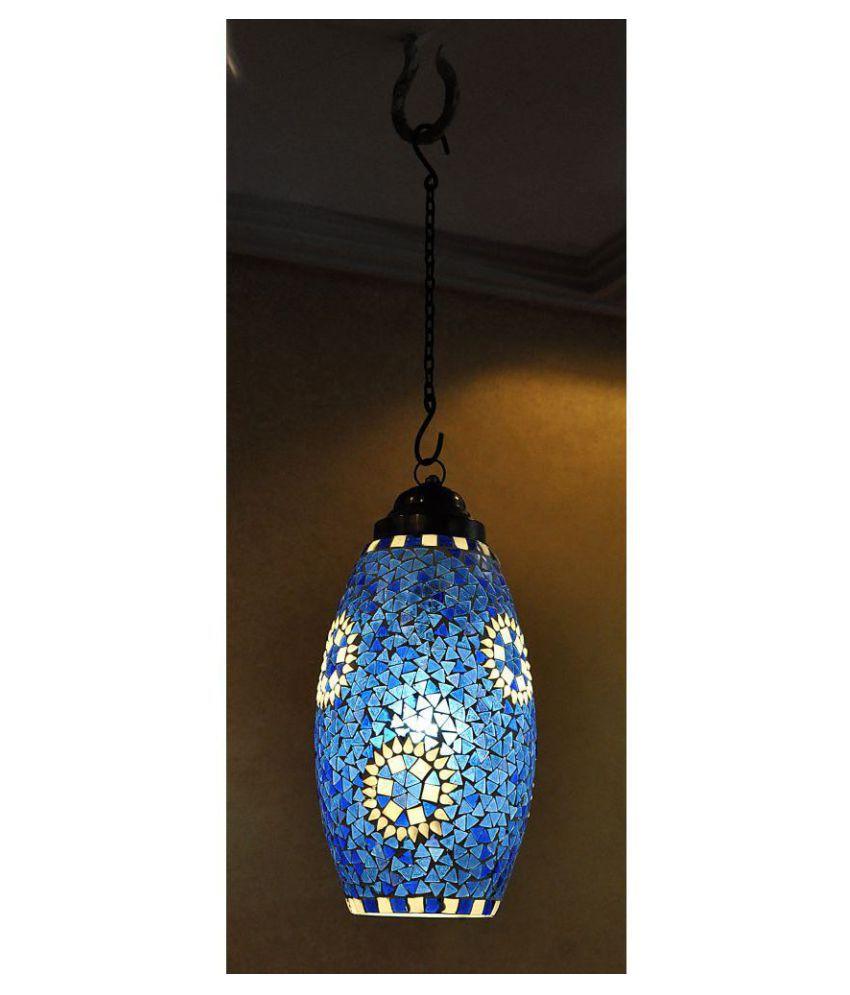 Lal Haveli Glass Decorative Hanging Lantern Ceiling Lamp Pendant Blue - Pack of 1
