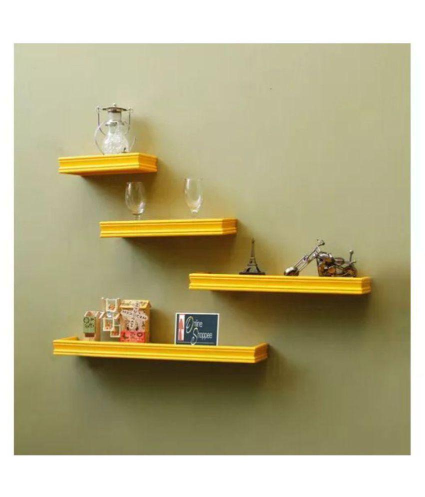 Onlineshoppee Floating Shelves Yellow MDF - Pack of 4