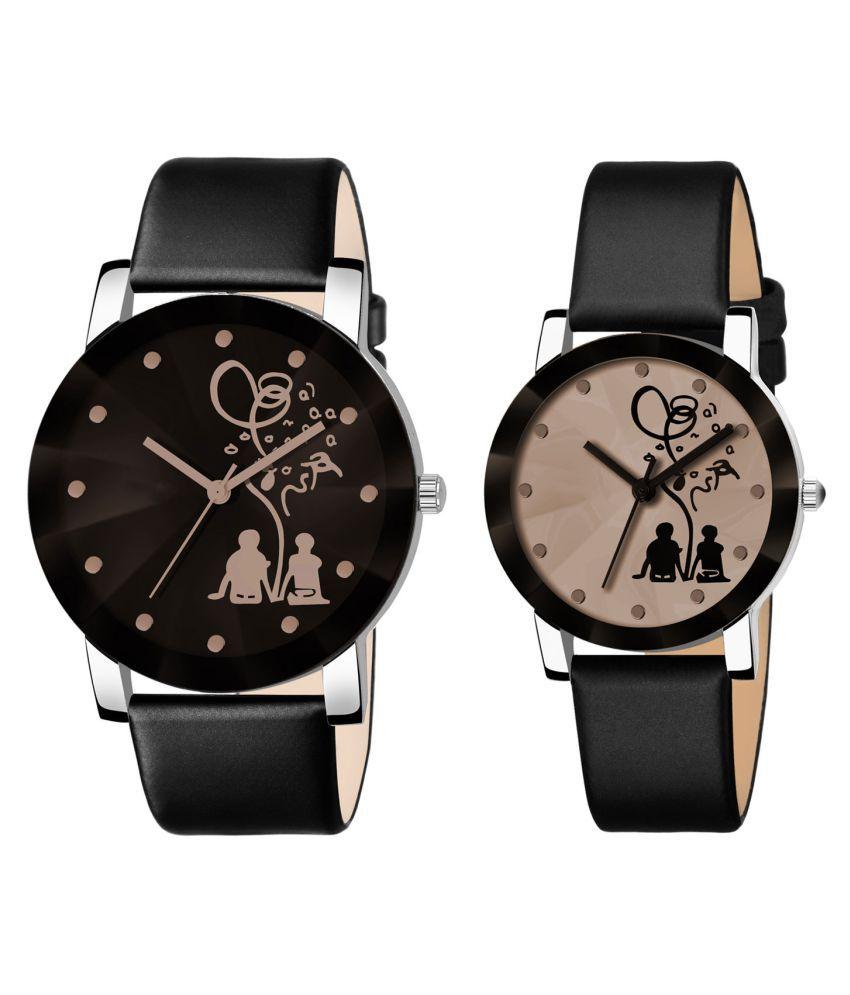 Shunya New Black Collection Crystal Analog Couple Watch